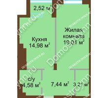 1 комнатная квартира 49,22 м² в ЖК Сердце Нижнего, дом № 36 - планировка