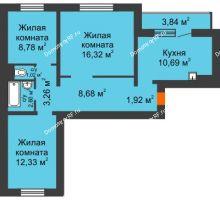 3 комнатная квартира 67,53 м² в Микрорайон Нанжуль-Солнечный, дом № 9 - планировка