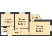 2 комнатная квартира 54,36 м² в ЖК Мончегория, дом № 3 - планировка