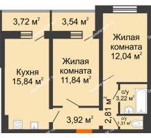 2 комнатная квартира 54,61 м², ЖК Инстеп.Победа - планировка