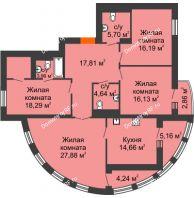 4 комнатная квартира 130,82 м² в Микpopaйoн  Преображенский, дом № 5 - планировка