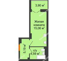 Студия 26,79 м² в ЖК Аврора, дом № 3 - планировка