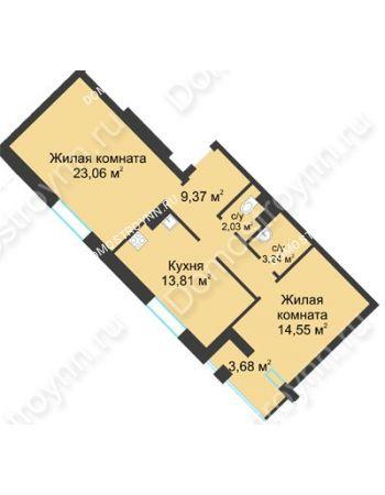2 комнатная квартира 67,9 м² в ЖК Воскресенская слобода, дом №1