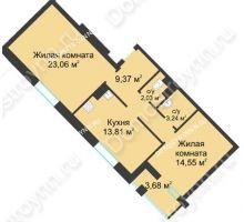 2 комнатная квартира 67,9 м² в ЖК Воскресенская слобода, дом №1 - планировка