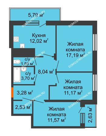 3 комнатная квартира 74,44 м² в ЖК Циолковский, дом № 6