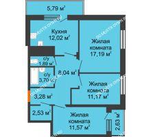 3 комнатная квартира 74,44 м² в ЖК Циолковский, дом № 6 - планировка