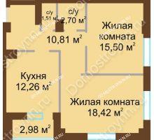 2 комнатная квартира 62,69 м² - ЖК Грани