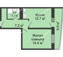 1 комнатная квартира 40,2 м² в ЖК Звезда Столицы, дом Литер 1 - планировка
