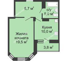 1 комнатная квартира 45,5 м² в ЖК Цветы, дом № 27 - планировка
