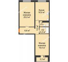 2 комнатная квартира 80 м², ЖК Дом на Горького - планировка