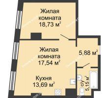2 комнатная квартира 60,99 м², ЖК Гранд Панорама - планировка