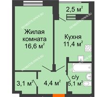 1 комнатная квартира 41,85 м² в ЖК Октава, дом №7 - планировка