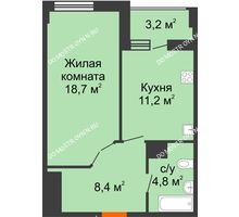 1 комнатная квартира 44,7 м² в ЖК Квартет, дом № 3 - планировка