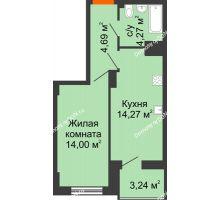 1 комнатная квартира 38,87 м² в ЖК Аврора, дом № 3 - планировка