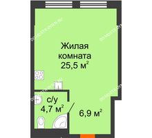 Студия 37,1 м², Комплекс апартаментов KM TOWER PLAZA (КМ ТАУЭР ПЛАЗА) - планировка