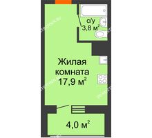Студия 23,7 м² в ЖК Подкова на Родионова, дом № 2 - планировка