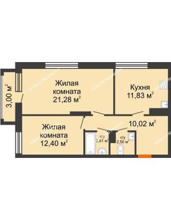 2 комнатная квартира 61,74 м² в ЖК Маленькая страна, дом № 4