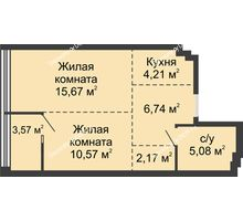 2 комнатная квартира 48,01 м², ЖК Белый Ангел - планировка
