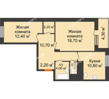 2 комнатная квартира 64,55 м² в ЖК Корица, дом № 1 - планировка