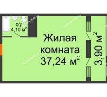 Студия 45,24 м² в ЖК Элегант, дом Литер 11 - планировка