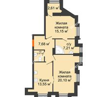 2 комнатная квартира 67,57 м² в ЖК Дом на Провиантской, дом № 12 - планировка