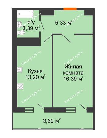 1 комнатная квартира 43 м² в ЖК Фамилия, дом Литер 1
