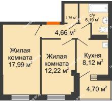 2 комнатная квартира 53,29 м², Жилой дом в 7 мкрн.г.Сосновоборск - планировка