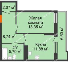 1 комнатная квартира 45,04 м² в ЖК Циолковский, дом № 3 - планировка