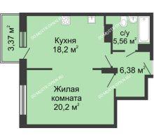 1 комнатная квартира 50,34 м² в ЖК Высоково, дом № 3 - планировка