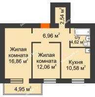2 комнатная квартира 55,11 м², ЖК Новая Жизнь - планировка