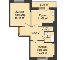 2 комнатная квартира 58,3 м² в Мкр Улитка, дом № 3Г,Д - планировка