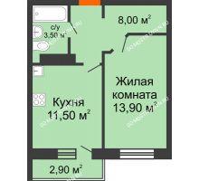 1 комнатная квартира 36,9 м² в ЖК Торпедо, дом № 1