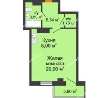 Студия 37,12 м² в ЖК Сокол на Оганова, дом Литер 5 - планировка