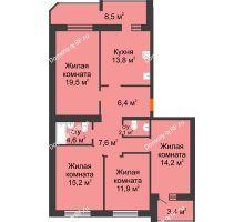 4 комнатная квартира 107,2 м² в ЖК Острова, дом 4 этап (второе пятно застройки) - планировка