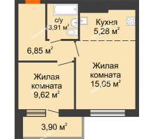 2 комнатная квартира 44,61 м² в ЖК На Хмельницкого, дом № 3 - планировка