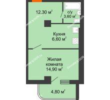 1 комнатная квартира 38,2 м², ЖК Уютный дом на Мечникова - планировка