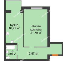 1 комнатная квартира 55,51 м², ЖК Зеленый квартал 2 - планировка