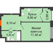 1 комнатная квартира 43,7 м², ЖК Гагарин - планировка