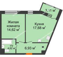 1 комнатная квартира 46,96 м² в ЖК Книги, дом № 1 - планировка