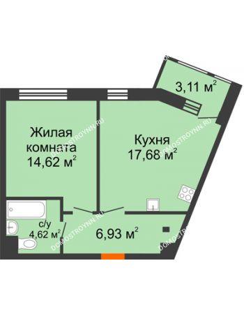 1 комнатная квартира 46,96 м² в ЖК Книги, дом № 2