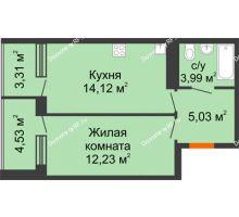 1 комнатная квартира 43,21 м², ЖК Горизонт - планировка