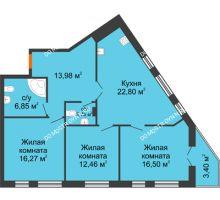 3 комнатная квартира 94,99 м² - ЖК Пушкин