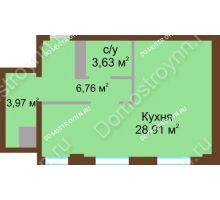 1 комнатная квартира 43,23 м² в ЖК Дом с террасами, дом № 1 - планировка