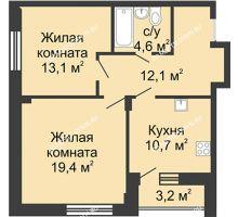 2 комнатная квартира 61 м² в ЖК Цветы, дом № 20 - планировка