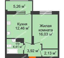 1 комнатная квартира 40,53 м² в ЖК Маленькая страна, дом № 4 - планировка