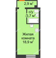 Студия 25,5 м², ЖК Красный дом - планировка