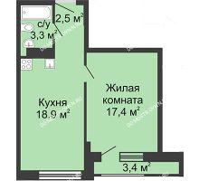 1 комнатная квартира 42,1 м², Жилой дом: ул. Сазанова, д. 15 - планировка
