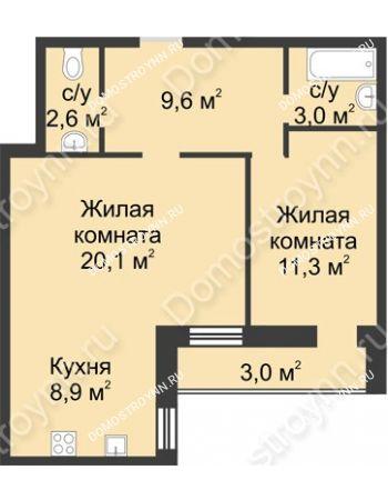 2 комнатная квартира 58,5 м² - ЖК Дом на Иванова