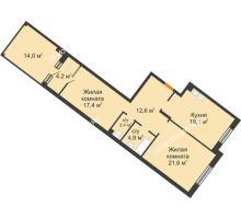 2 комнатная квартира 86,6 м² - ЖК Симфония Нижнего