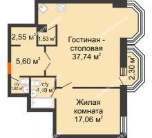 2 комнатная квартира 70,98 м², ЖК Дом на Гребешке - планировка